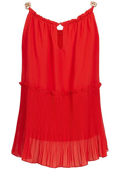 Styleboom Fashion Damen Plissee Chiffon Top 2-lagig rot