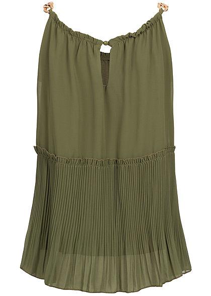 Styleboom Fashion Damen Plissee Chiffon Top 2-lagig military grün