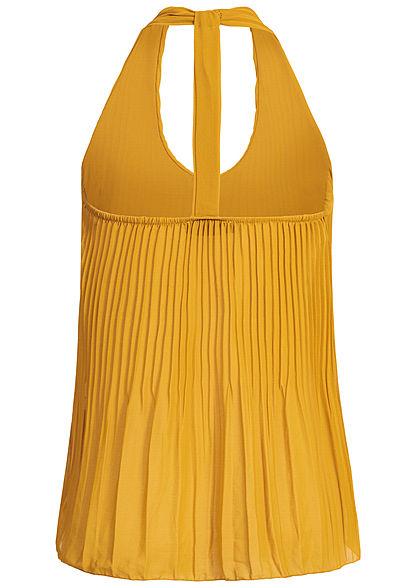 Styleboom Fashion Damen Chiffon Plissee Top 2-lagig senf gelb