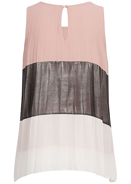 Styleboom Fashion Damen Colorblock Chiffon Top Glitzer rosa grau weiss