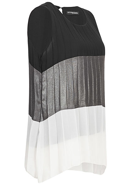 Styleboom Fashion Damen Colorblock Chiffon Top Glitzer schwarz grau weiss