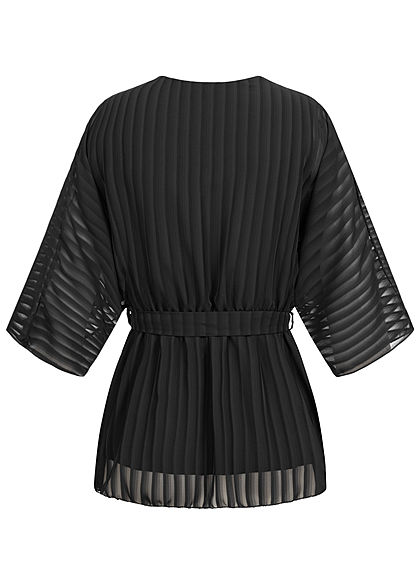 Styleboom Fashion Damen Chiffon Top Fledermausärmel Bindegürtel schwarz