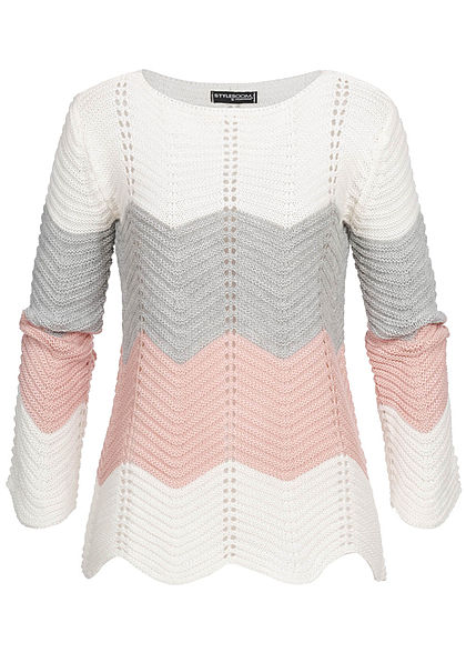 Styleboom Fashion Damen Colorblock Strickpullover weiss grau rosa