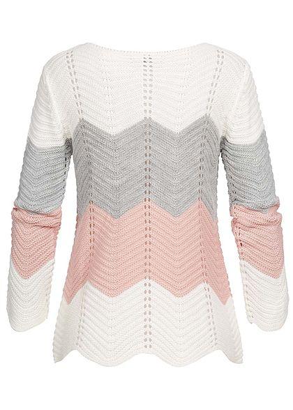 Styleboom Fashion Damen Colorblock Strickpullover weiss grau rosa