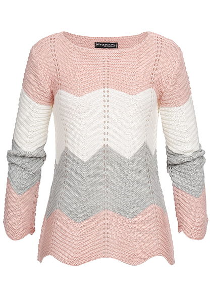 Styleboom Fashion Damen Colorblock Strickpullover rosa weiss grau
