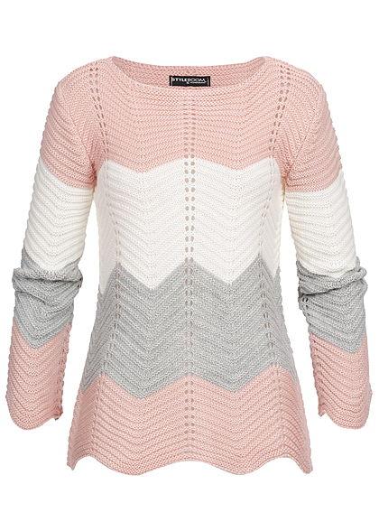 half off b45df 2ceab Styleboom Fashion Damen Colorblock Strickpullover rosa weiss grau