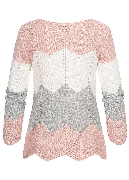 Styleboom Fashion Damen Colorblock Strickpullover rosa weiss grau