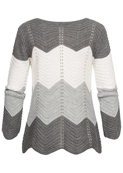 Styleboom Fashion Damen Colorblock Strickpullover dunkel grau weiss grau