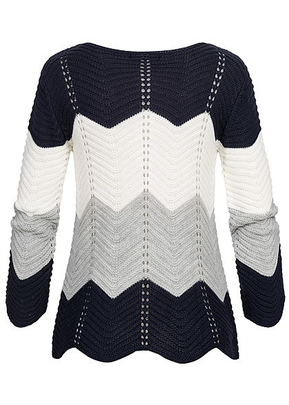Styleboom Fashion Damen Colorblock Strickpullover navy blau weiss