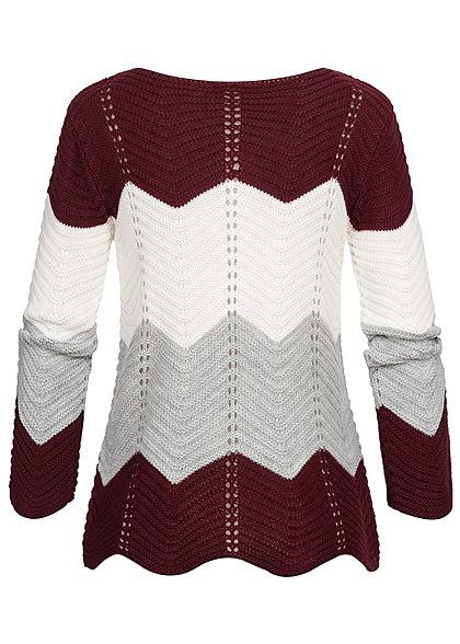 Styleboom Fashion Damen Colorblock Strickpullover bordeaux rot weiss grau