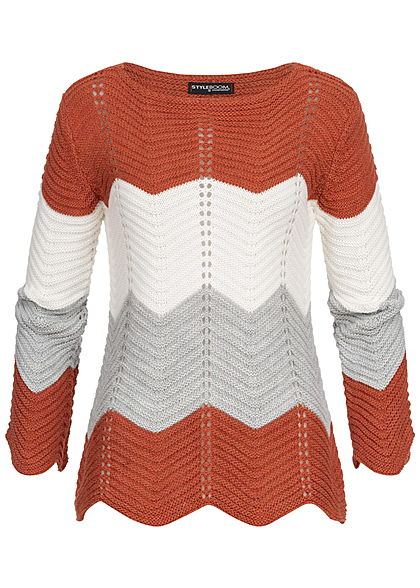Styleboom Fashion Damen Colorblock Strickpullover kupfer weiss grau