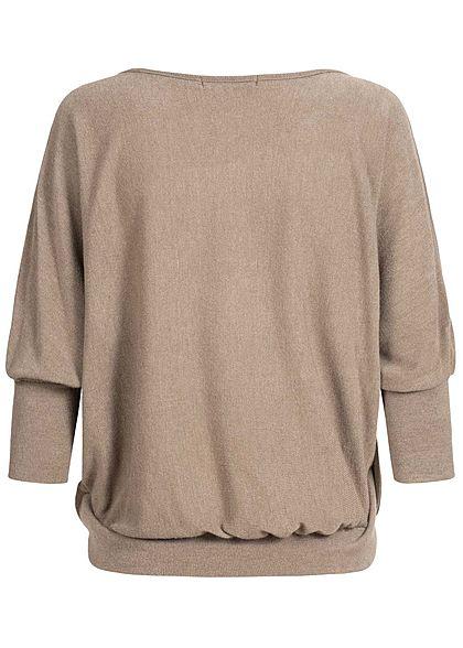 Styleboom Fashion Damen Oversized Fledermausärmel Shirt fango braun
