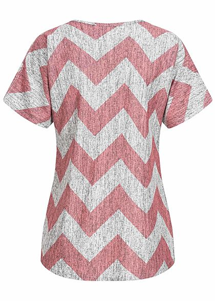 Styleboom Fashion Damen T-Shirt Zipper Zig Zag Print rosa grau melange