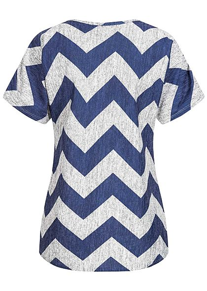 Styleboom Fashion Damen T-Shirt Zipper Zig Zag Print navy blau grau melange
