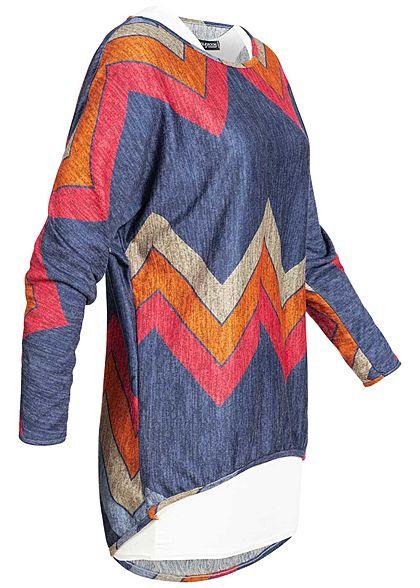 Styleboom Fashion Damen 2in1 Shirt Zick Zack Print multicolor