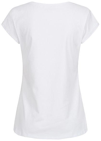 Styleboom Fashion Damen T-Shirt Anker Label Print weiss blau