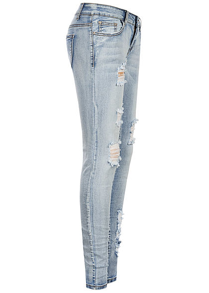 Seventyseven Lifestyle Damen Skinny Jeans 5-Pockets Heavy Destroy hell blau denim