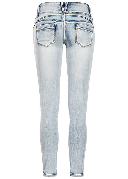 Seventyseven Lifestyle Damen Skinny Jeans 5-Pockets High Waist hell blau denim