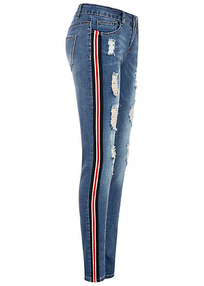 Seventyseven Lifestyle Damen Skinny Jeans 5-Pockets Destroy Look medium blau denim