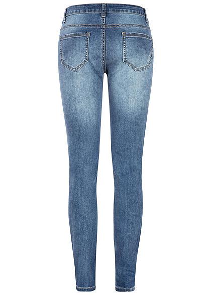 Seventyseven Lifestyle Damen Skinny Jeans 5-Pockets Destroy Look medium blau denim