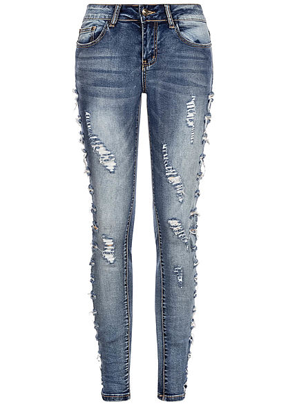 Seventyseven Lifestyle Damen Skinny Jeans 5-Pockets Heavy Destroy Look blau denim