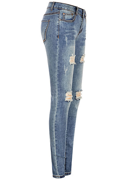 Seventyseven Lifestyle Damen Skinny Jeans 5-Pockets Heavy Destroy blau denim