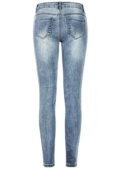 Seventyseven Lifestyle Damen Skinny Jeans 5-Pockets Heavy Destroy hell blau denim