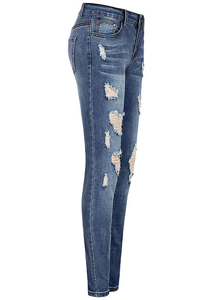 Seventyseven Lifestyle Damen Skinny Jeans 5-Pockets Heavy Destroy medium blau denim