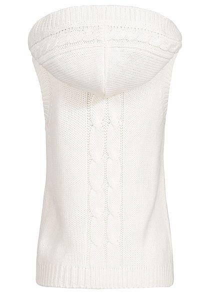 Seventyseven Lifestyle Damen Fake Fur Knit Vest ecru weiss