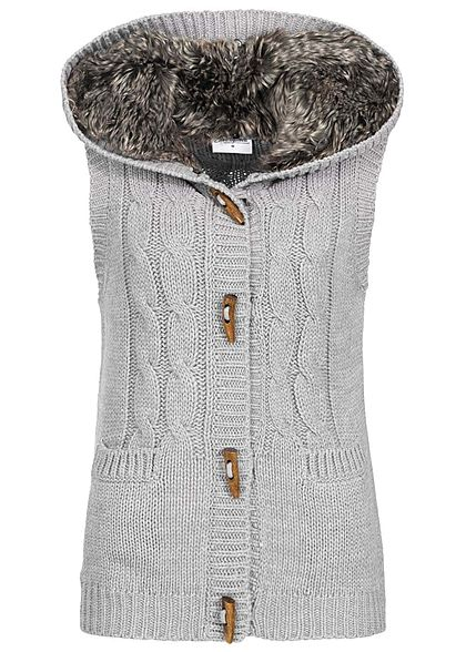 Seventyseven Lifestyle Damen Fake Fur Knit Vest dunkel grau