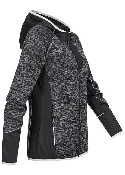 Seventyseven Lifestyle Damen Regatta Zip Hoodie 2-Pockets schwarz melange