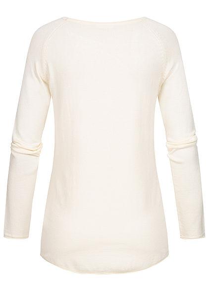 Seventyseven Lifestyle Damen Soft Touch Pullover ecru off weiss