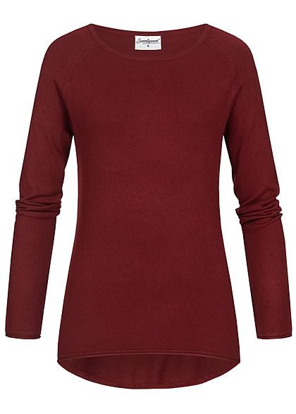 Seventyseven Lifestyle Damen Soft Touch Pullover bordeaux rot