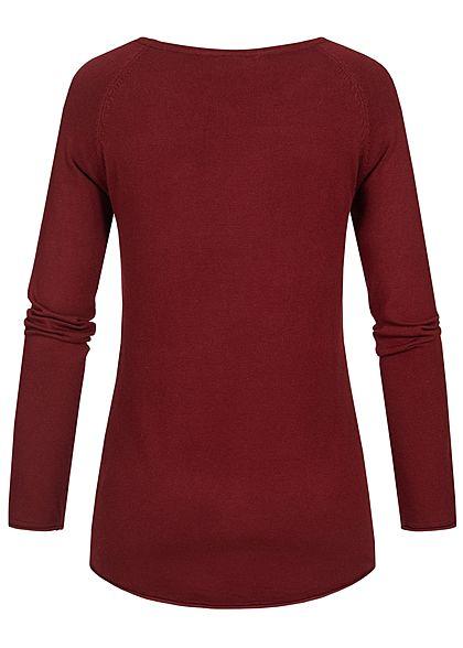 Seventyseven Lifestyle Damen Soft Touch Pullover bordeaux rot