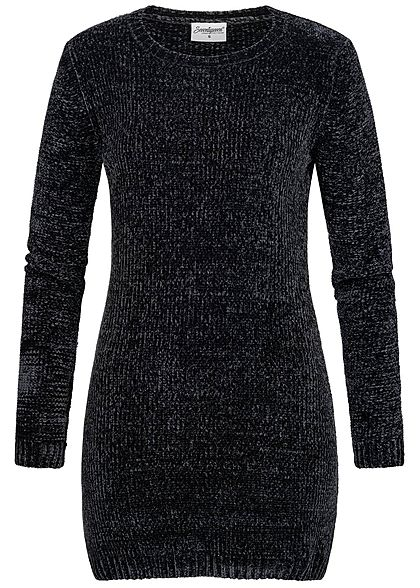 huge selection of 91df3 9a40f Seventyseven Lifestyle Damen Chenille Long Pullover schwarz