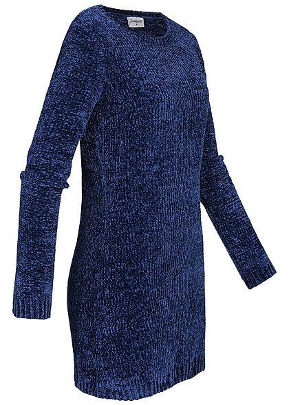 Seventyseven Lifestyle Damen Chenille Long Pullover navy blau