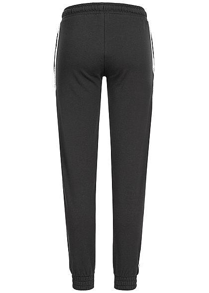 Seventyseven Lifestyle Damen Jogging Hose 2-Pockets Logo Print schwarz