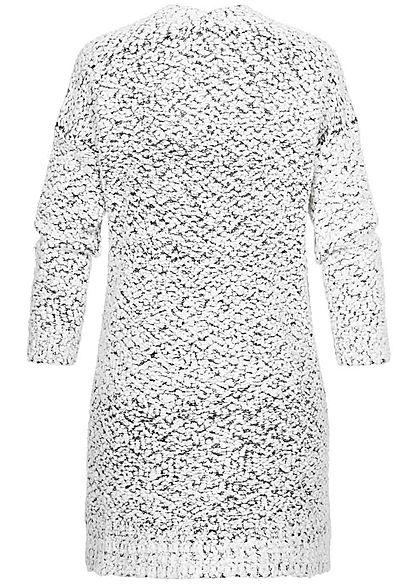 Seventyseven Lifestyle Damen Midi Cardigan 2-Pockets weiss schwarz melange