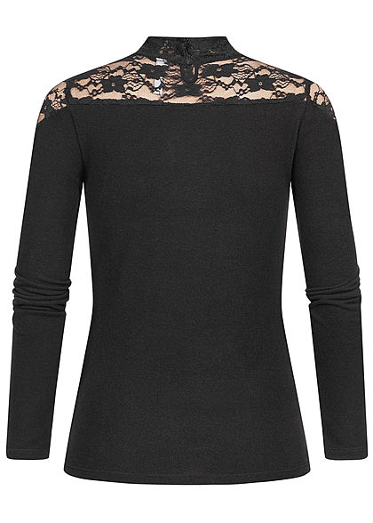 Seventyseven Lifestyle Damen High-Neck Lace Detail Longsleeve schwarz