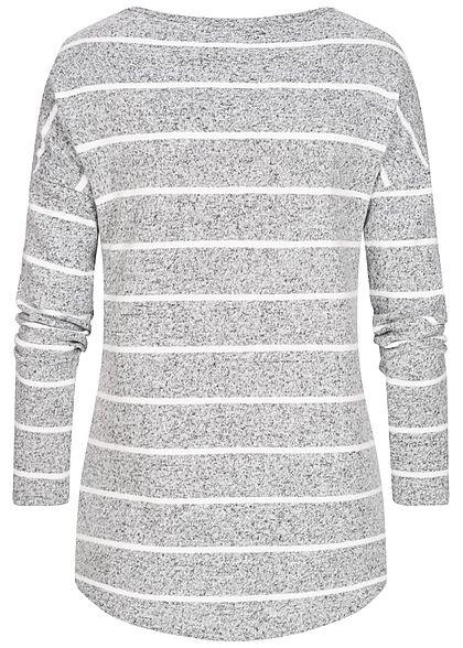 Seventyseven Lifestyle Damen Soft-Touch Longsleeve Streifen hell grau weiss
