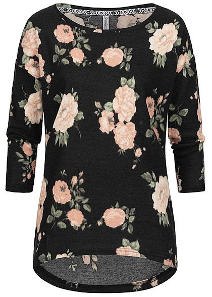 Seventyseven Lifestyle Damen 3/4 Sleeve Oversize Soft Touch Sweater Flower Print schwarz
