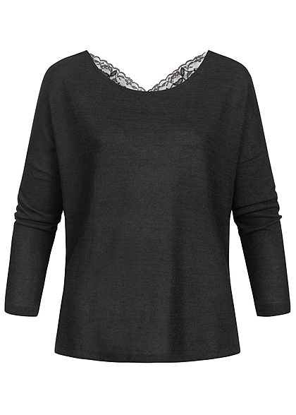 Seventyseven Lifestyle Damen Wide Oversized Sweater Lace Detail Backside schwarz
