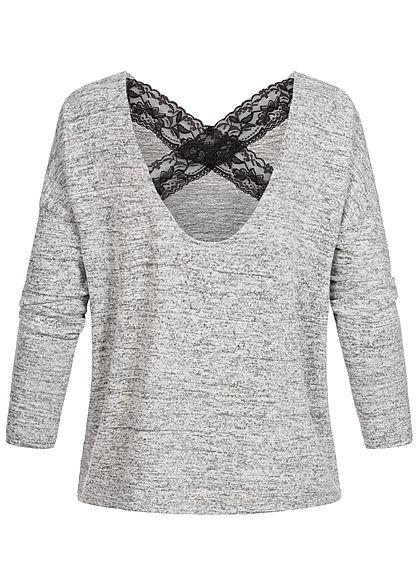 Seventyseven Lifestyle Damen Wide Oversized Sweater Lace Detail Backside hell grau