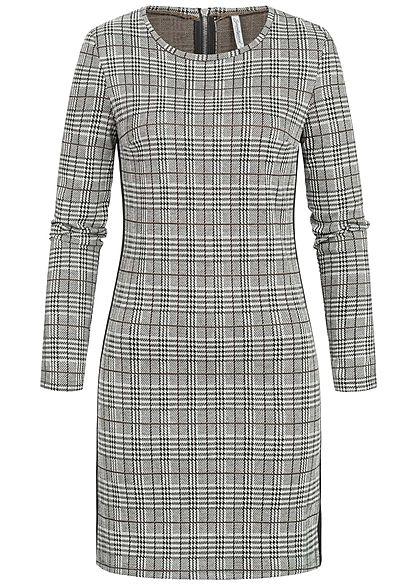 Seventyseven Lifestyle Damen Kleid Karo Muster caramel braun grau schwarz