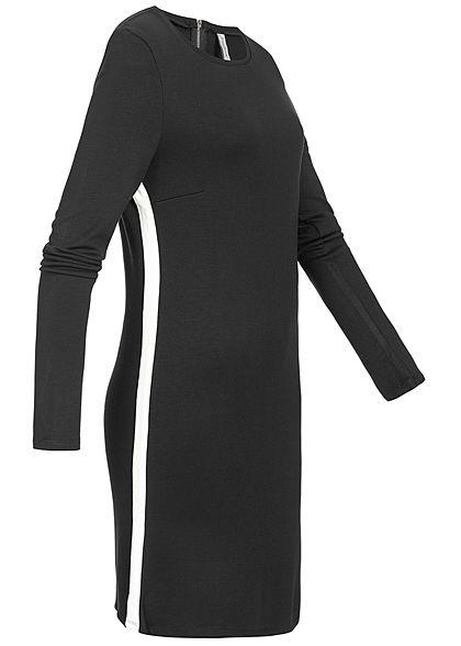 Seventyseven Lifestyle Damen Kleid Kontraststreifen Seitl Schwarz