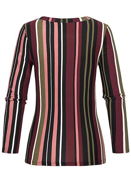 Seventyseven Lifestyle Damen Soft Touch Longsleeve Stripes Print multicolor