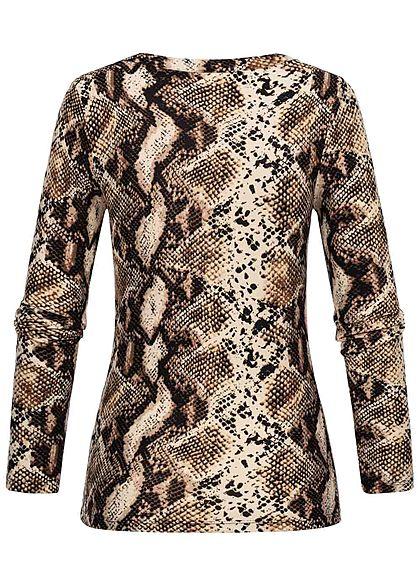 Seventyseven Lifestyle Damen Soft Touch Longsleeve Snake Print beige braun