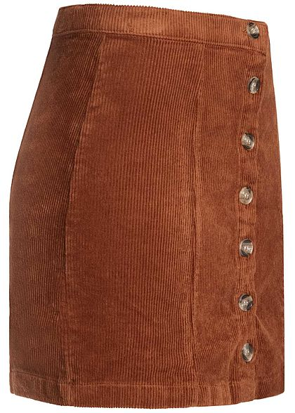 Seventyseven Lifestyle Damen Mini Cord Skirt Buttons Front caramel braun