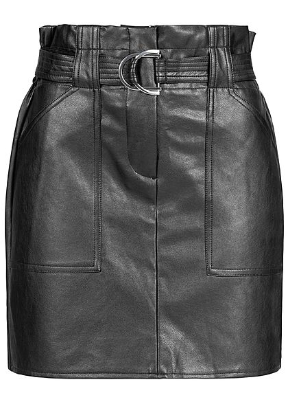 Seventyseven Lifestyle Damen Belted Fake Leather Skirt 2-Pockets schwarz