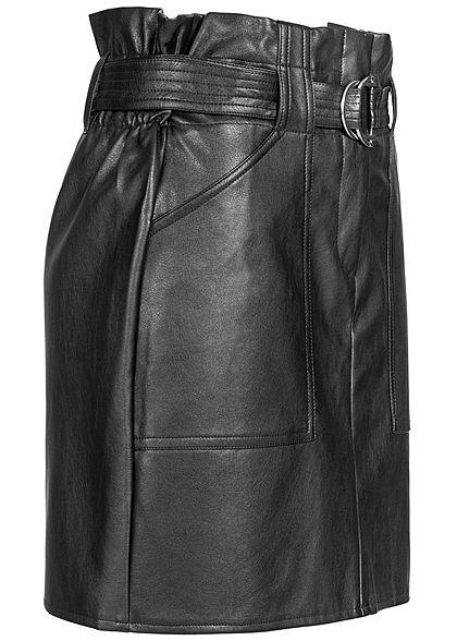 Seventyseven Lifestyle Damen Belted Fake Leather Skirt 2-Pockets schwarz